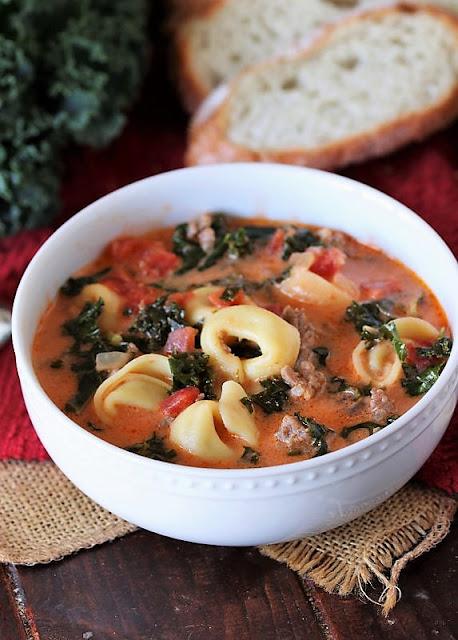 Bowl of Sausage Tortellini Soup Image