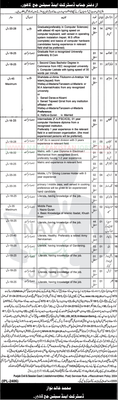 District And Session Judge Lahore Jobs 2019, session court jobs Lahore 2019