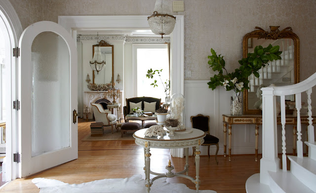 white entry of interior designer Annie Brahler of Eurotrash