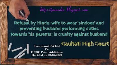 Refusal by Hindu-wife to wear 'sindoor' is cruelty against husband