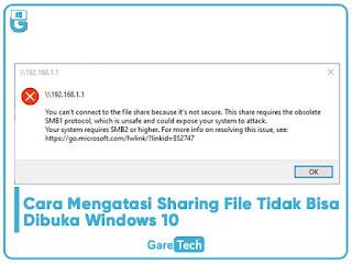 Cara Mengatasi Sharing File Tidak Bisa Dibuka Windows 10