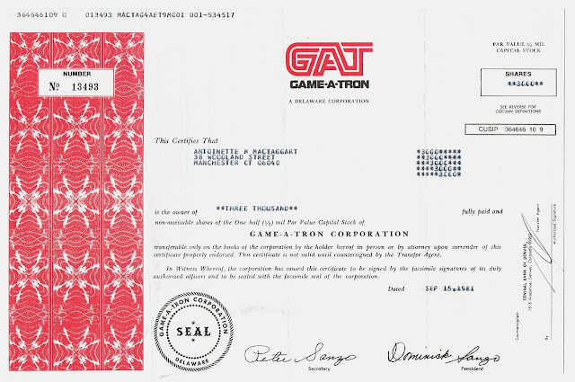 GAME-A-TRON corporation stock certificate
