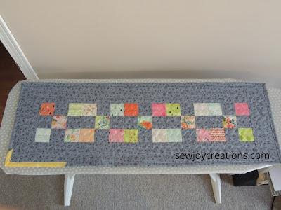 patchwork tablerunner squares grey modern runner