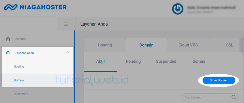 Cara beli domain Niagahoster 2 Pilih Order Domain