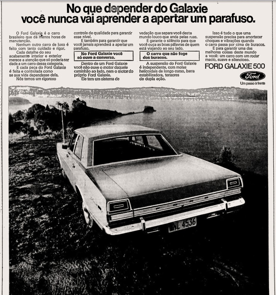 Ford.  1973. brazilian advertising cars in the 70. os anos 70. história da década de 70; Brazil in the 70s. propaganda carros anos 70. Oswaldo Hernandez.