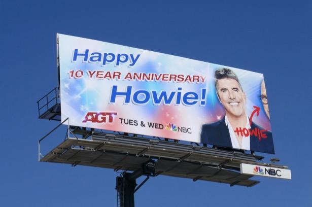 Happy 10 year anniversary Howie AGT billboard