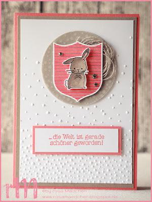 Stampin' Up! rosa Mädchen Kulmbach: Babykarten in Pastelltönen mit Zum Nachwuchs, Prägefolder Leise rieselt und Gut Gewappnet