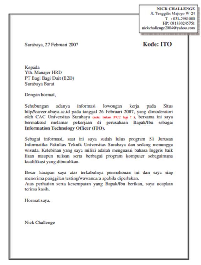Contoh Surat Lamaran Kerja Yang Baik Dan Benar Untuk Umum