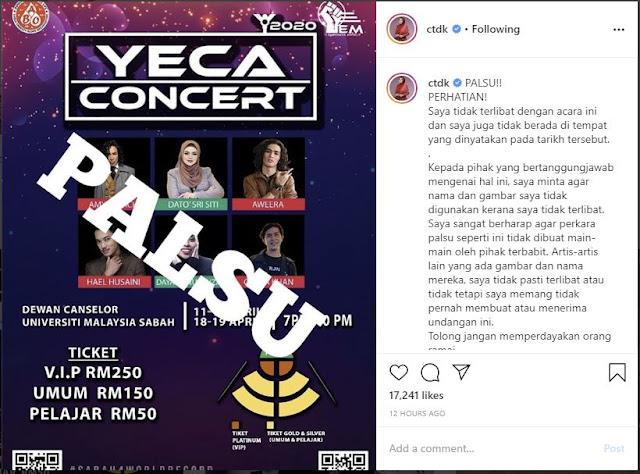 Poster Konsert Palsu di UMS guna nama Siti Nurhaliza