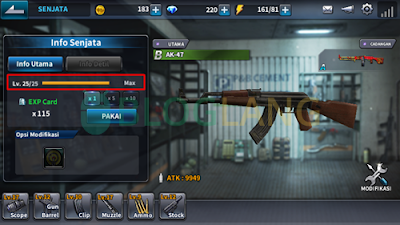 level senjata point blank mobile