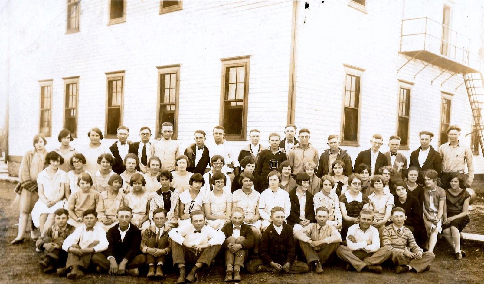 Sutton Nebraska Museum: Ong High School student body - spring 1928