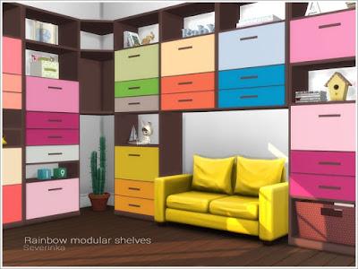 Rainbow modular shelves Радужные модульные полки для The Sims 4 Набор модульных полок для украшения детской комнаты. Вы можете сделать полки в любом варианте, а также в любой цветовой гамме. Для средней стены. В комплект входят 4 предмета: - 4 высокие модульные полки - 1 короткая полка - короткая угловая полка - длинная угловая полка Автор: Severinka_