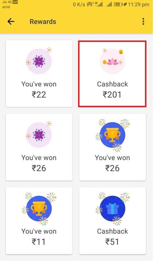 google pay diwali offer proof