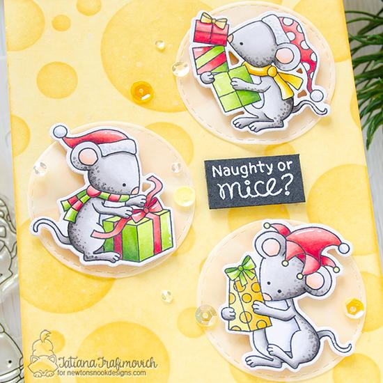 Holiday Mouse Card by Tatiana Trafimovich | Naughty or Mice Stamp Set & Bokeh Stencil by Newton's Nook Designs #newtonsnook