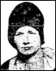 News clipping head shot of youngish white woman wearing a tall cloche hat
