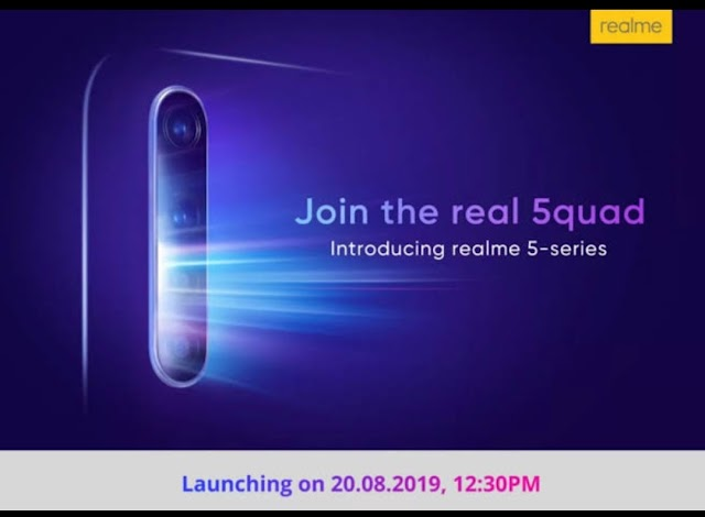 Realme 5 series is set to launch in India on August 20