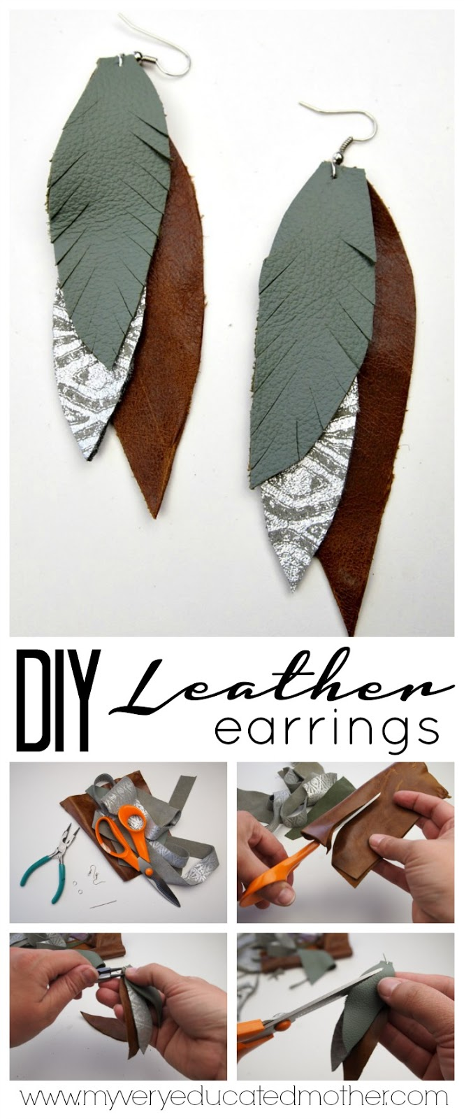 Save money and make your own Feathered Leather Earrings!