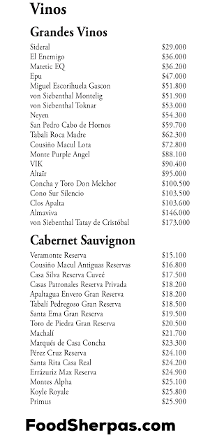 menu from Happening in Santiago, Chile