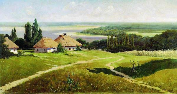 Маковский Владимир Егорович - Украинский пейзаж с хатами. 1901