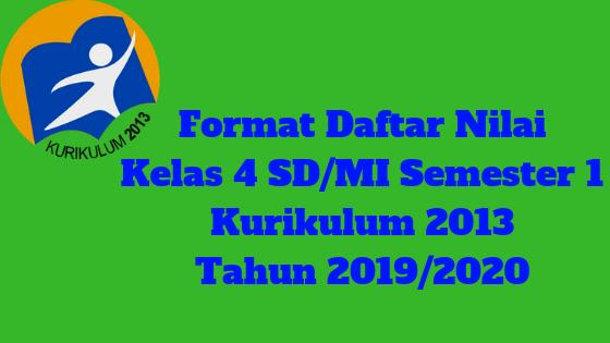 Format Daftar Nilai Kelas 4 SD/MI Semester 1 Kurikulum 2013 Tahun 2019/2020 - Guru Krebet 3
