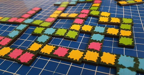 Hedgeways strategy game tiles on table mid game