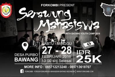 EVENT: Batang | 27-28 Februari 2016 | FORKOMBI | Srawung Mahasiswa