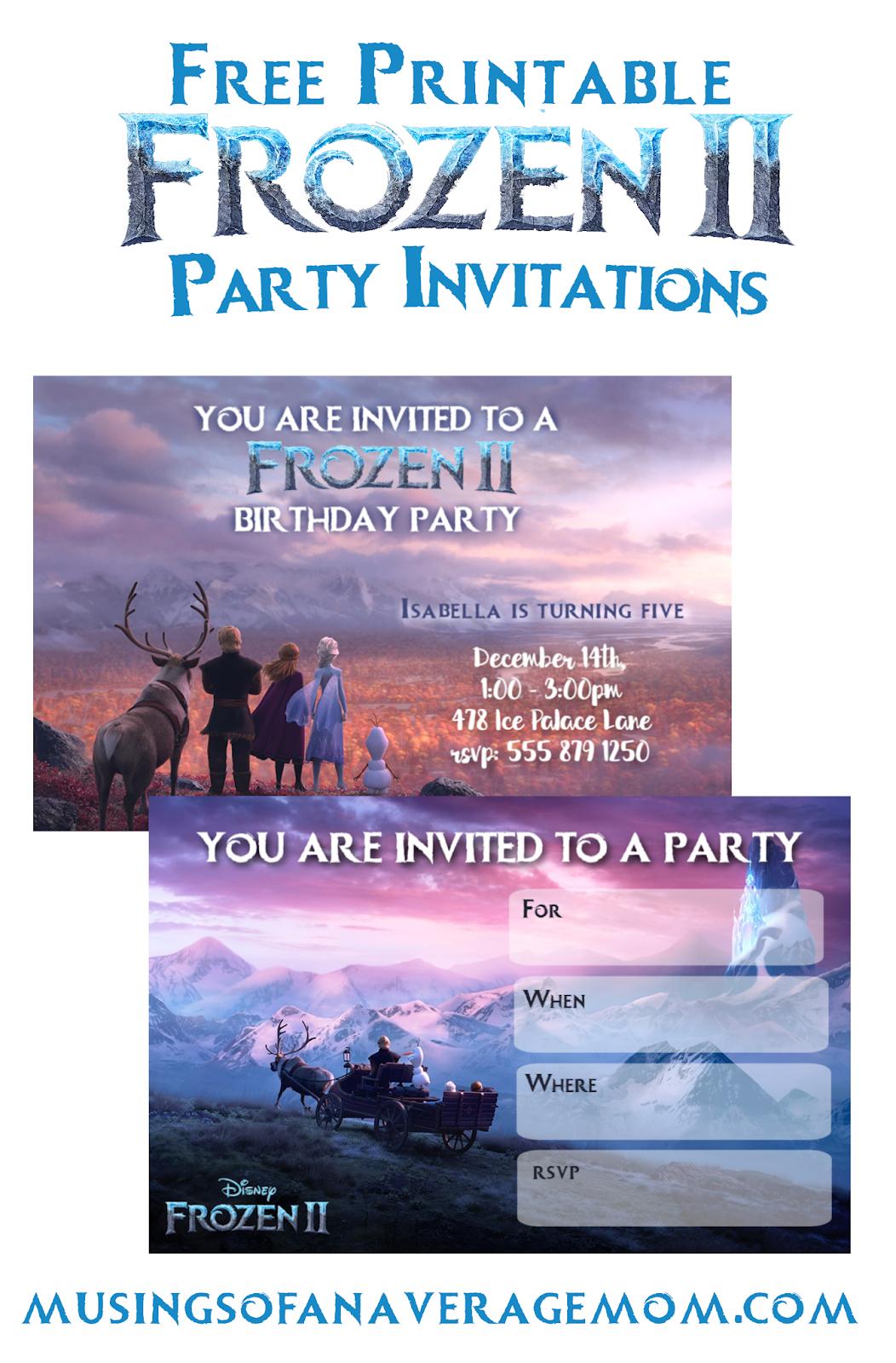 frozen 2 invitations