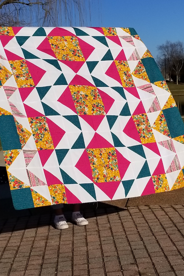 Throw Modern Aztec Quilt made by L.T. | Shannon Fraser Designs