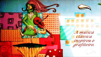 A música clássica inspirou o grafiteiro. Quadro de uma pintura em grafite de uma pessoa tocando violino.