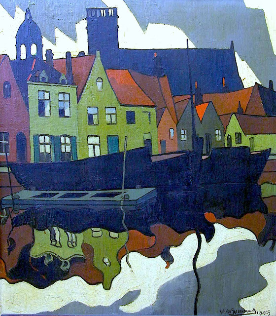 an Achiel Van Sassenbrouck 1923 painting of a town reflected in water