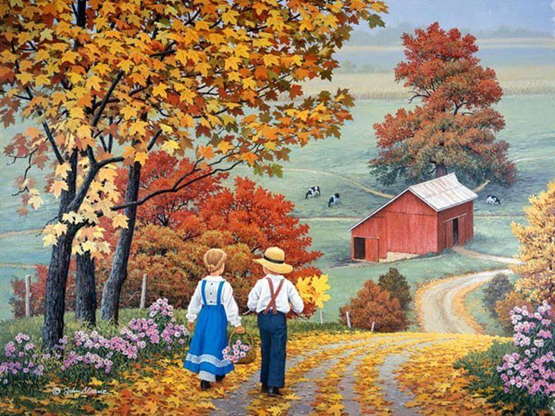 Quadro classico d'autunno con bimbo e bimba sulla strada di campagna.
