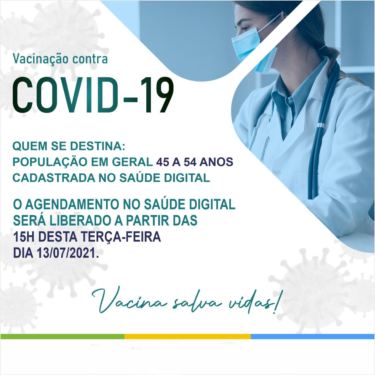 Aurora abre amanhã, terça-feira, agendamento para vacinar contra covid-19 população em geral de 45 a 54 anos