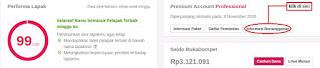 Tampilan Data penjualan Account Premium Basic Bukalapak