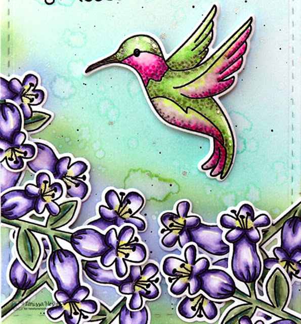 Take Delight in the Small Things Card by Larissa Heskett for Newton's Nook Designs using Hummingbird Stamp and Die Set and Frames and Flags Die #newtonsnook #newtonsnookdesigns #hummingbirdsstampset #copicmarkers #distressoxides
