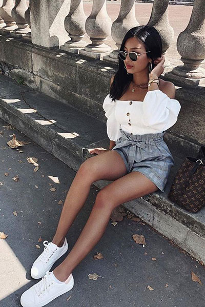 Top in White + Shorts in Grey | 17 Nice Fall Outfits When You Hate Everything You Own
