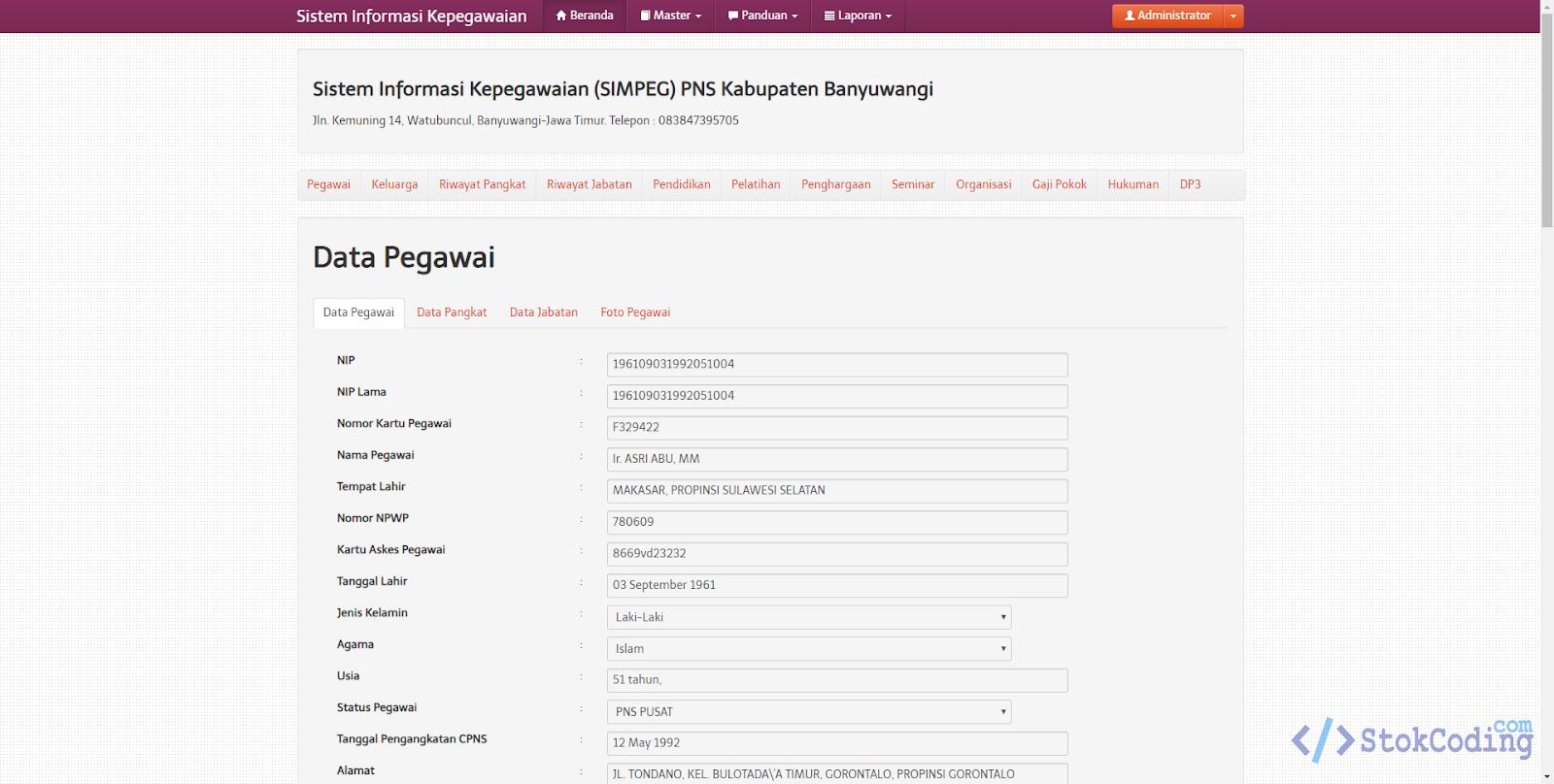 Sistem Informasi Kepegawaian Berbasis Web (Codeigniter)