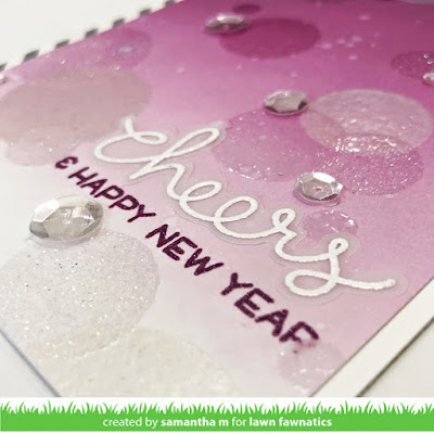 Cheers & Happy New Year Card by Samantha Mann, Lawn Fawnatics, Lawn Fawn, Bokeh, Heat Embossing, Sequins, Card Making, Cards, handmade cards, #lawnfawn #lawnfawnatics #letsbokeh #bokeh #cardmaking #cards #heatembossing #newyearscard