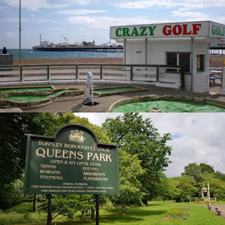 Crazy Golf course on the seafront in Brighton and the Putting Green at Queens Park in Burnley