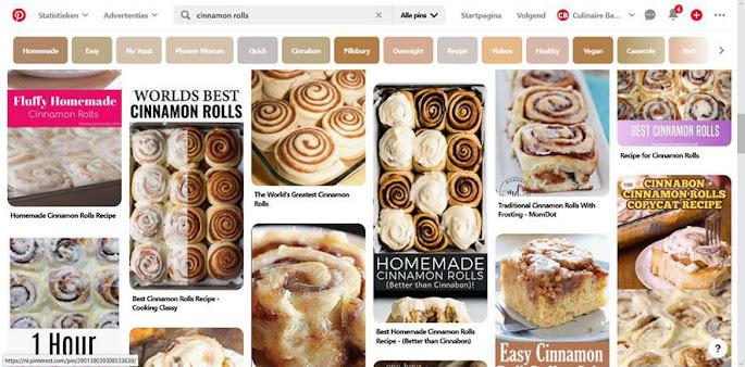 Op Pinterest zoeken naar 'cinnamon rolls' geeft veel resultaten!