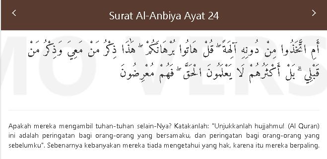 Quran Surat al anbiya 24