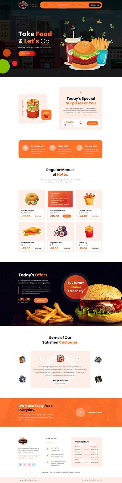 Take Away Food Website Template