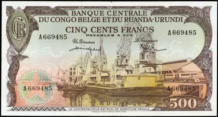 Belgian Congo banknotes 500 Francs