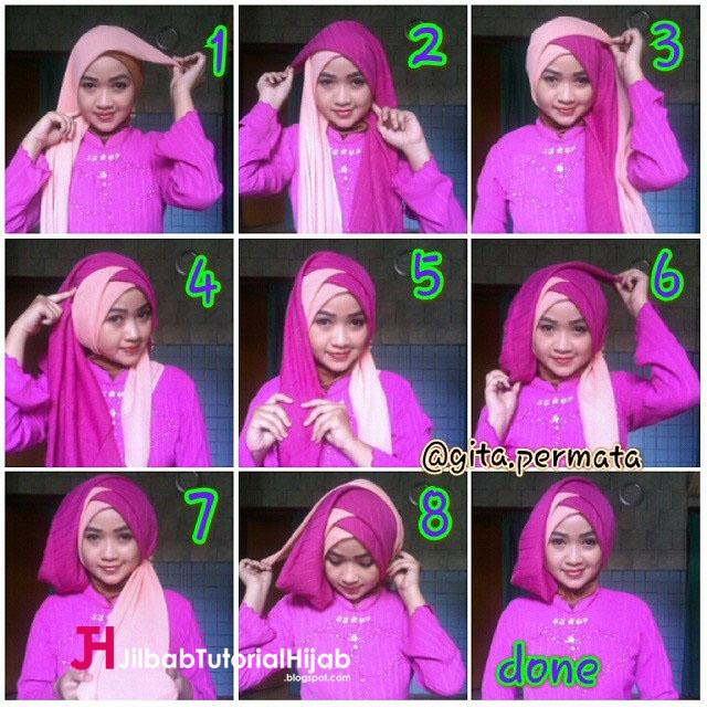 Tutorial Hijab Segi Empat 2 Warna style turban untuk Wisuda dan Lebaran Kebaya. Jilbab segi empatnya dilipat jadi segi tiga