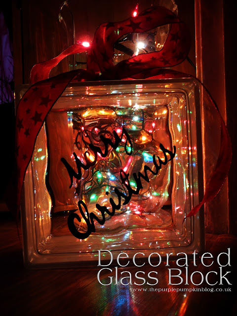 Decorated Glass Block | The Purple Pumpkin Blog