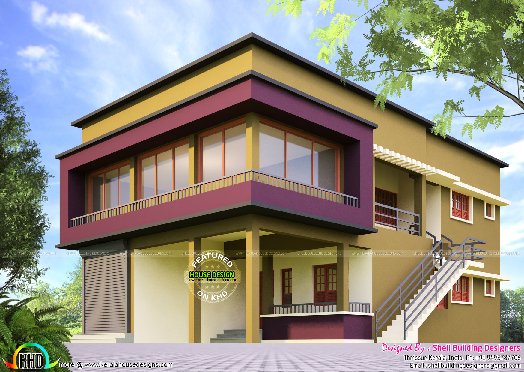 House with shop elevation design kerala home design and for Shop house plans
