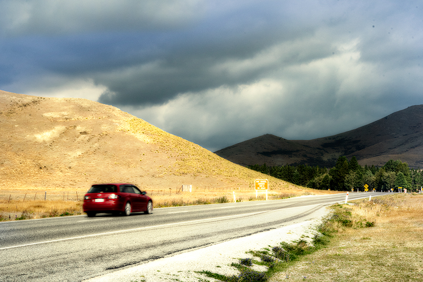 Driving in New Zealand's South Island.