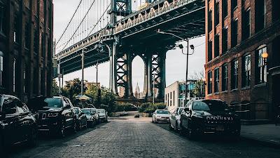 Wallpaper City, Bridge, Buildings, Cars