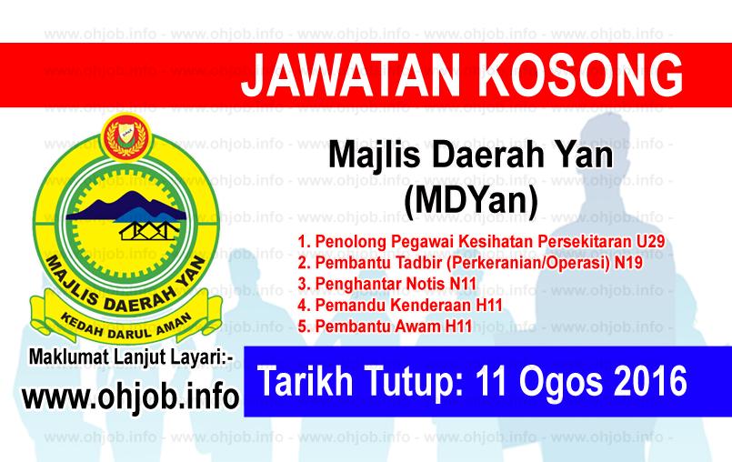 Jawatan Kerja Kosong Majlis Daerah Yan (MDYan) logo www.ohjob.info ogos 2016