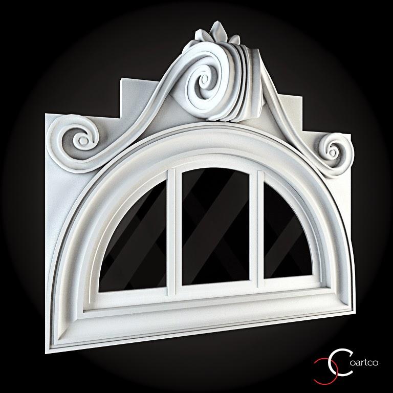 Ornameate Geamuri Rotunde Exterior, fatade case cu profile decorative polistiren, profile fatada,  Model Cod: WIN-077