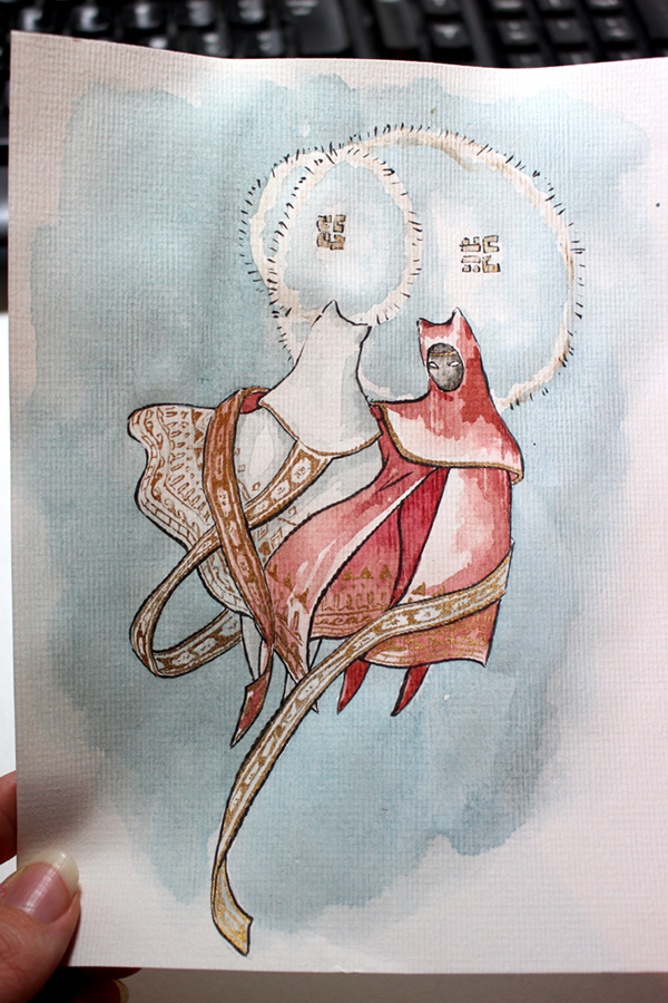 fanart de Journey - flying and chatting - aquarelle